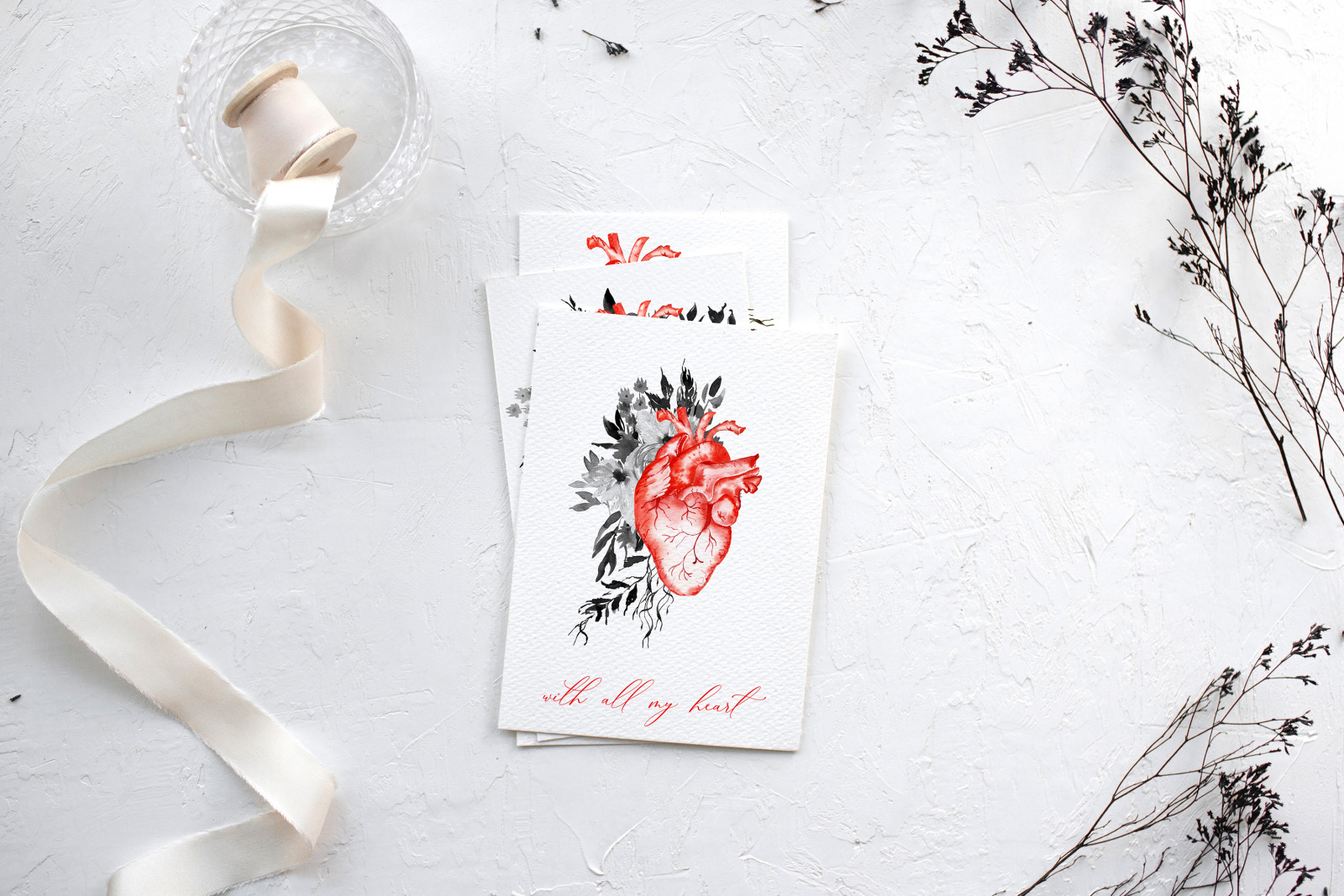 Watercolor anatomical heart clipart, Valentine clipart with watercolor flowers and heart