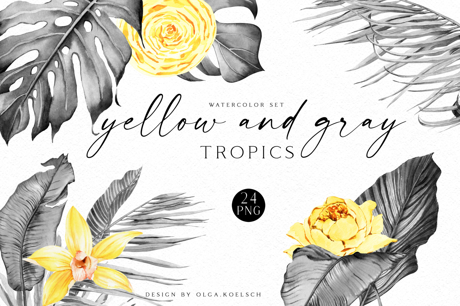 Watercolor gray and yellow tropical clipart, Yellow roses, gray palm leaves for wedding invitations