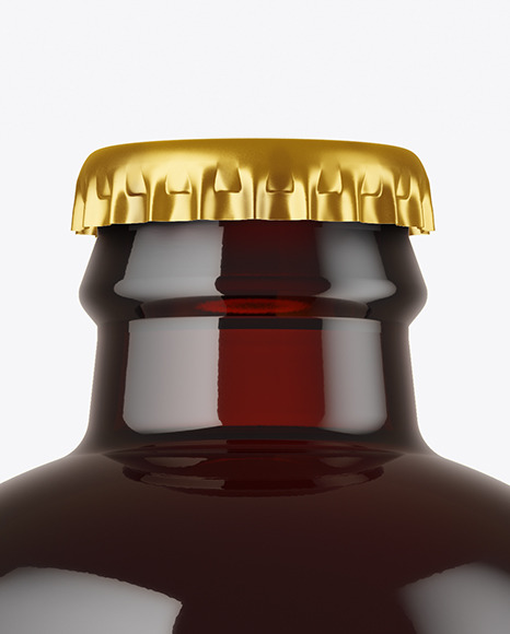 Dark Amber Glass Beer Bottle Mockup