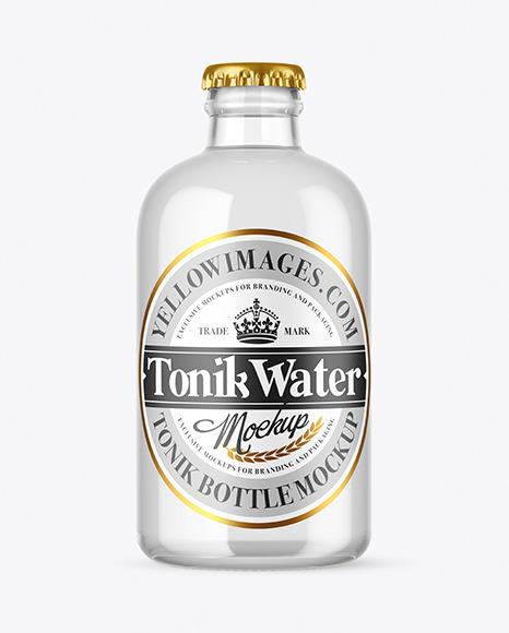 Clear Glass Tonic Water Bottle Mockup