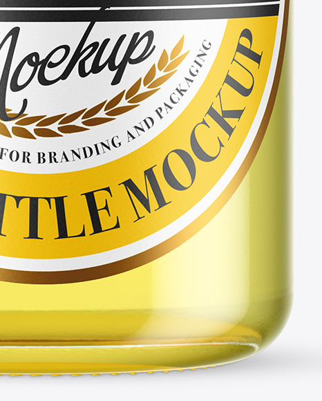 Clear Glass Drink Bottle Mockup