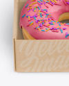 Opened Kraft Box with Donut Mockup