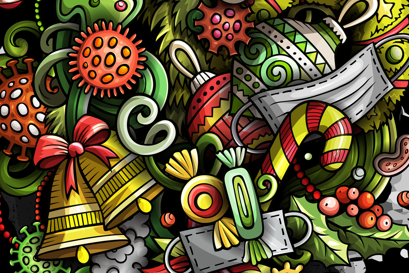 New Year in Pandemic Cartoon Doodle Illustration
