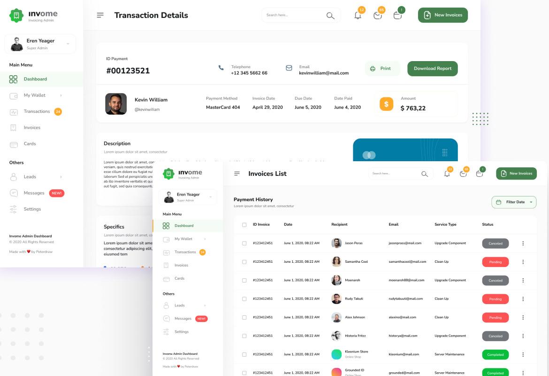 Invome - Invoicing Admin Dashboard Figma and PSD Template