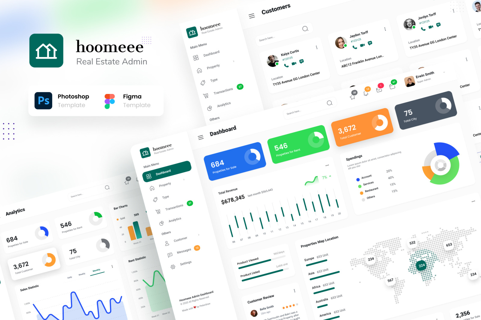 Hoomeee - Real Estate Admin Dashboard Template