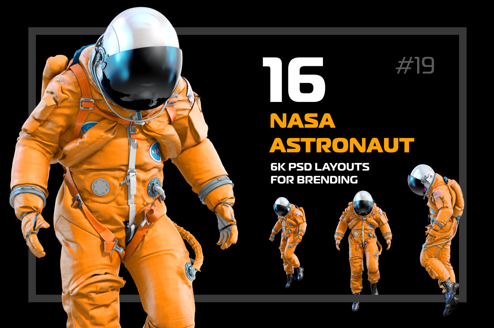 PSD Mockup 3D model NASA Astronaut #19