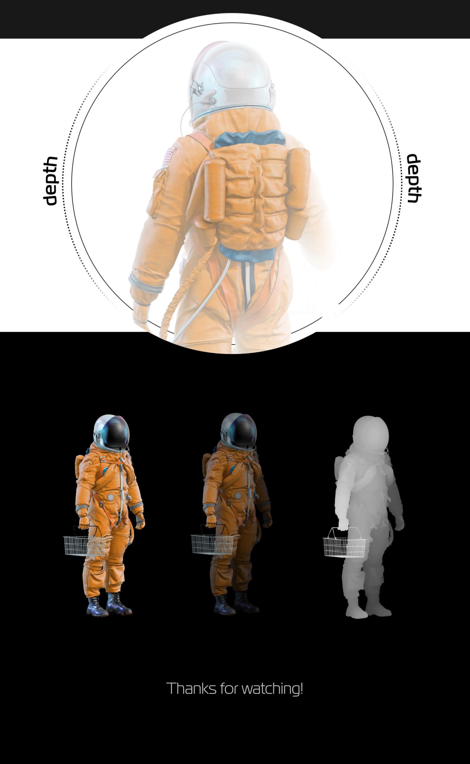 PSD Mockup 3D model NASA Astronaut #32