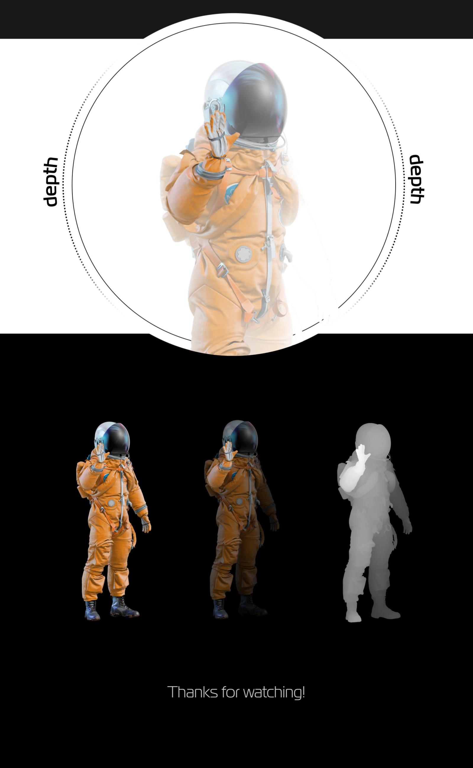 PSD Mockup 3D model NASA Astronaut #34