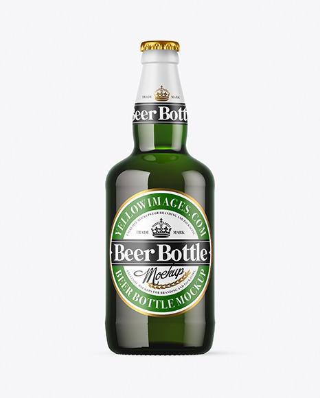 Green Glass Beer Bottle Mockup