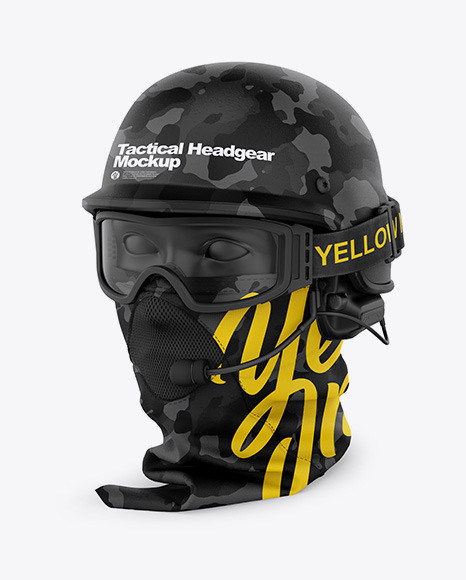 Tactical Headgear Mockup - Half Side View