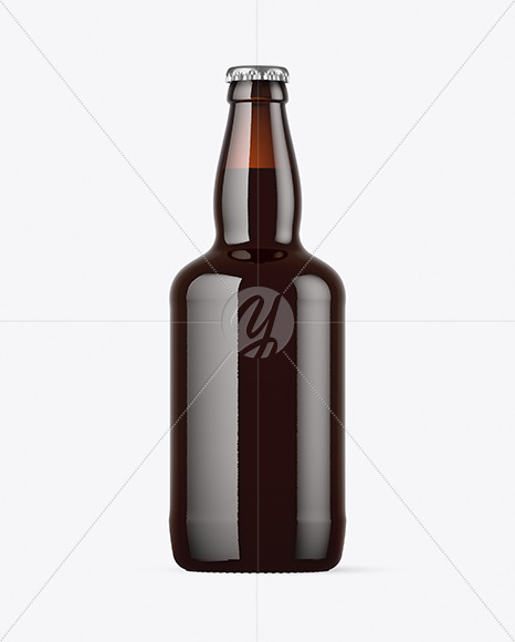 Dark Amber Glass Beer Bottle with Red Ale Mockup