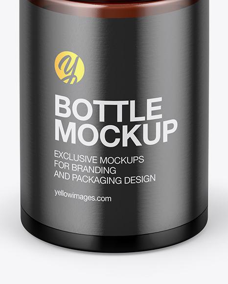 Small Amber Glass Bottle Mockup