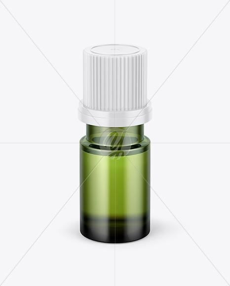 Small Green Glass Bottle Mockup