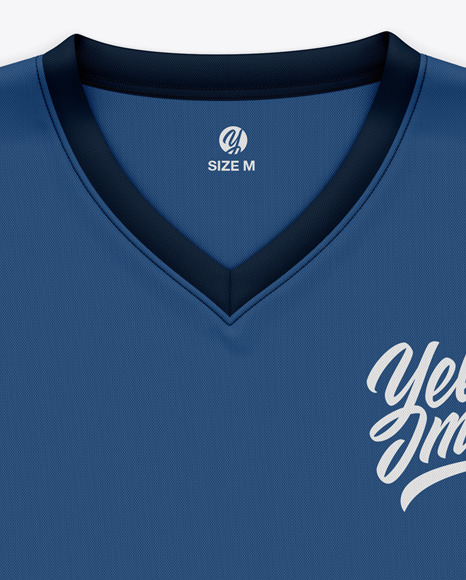 Men's Flat V-Neck T-Shirt Mockup - Front View