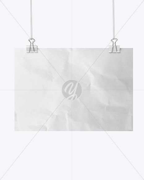 Crumpled Poster A4 w/ Pins Mockup