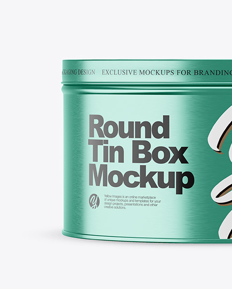 Metallic Round Tin Box Mockup