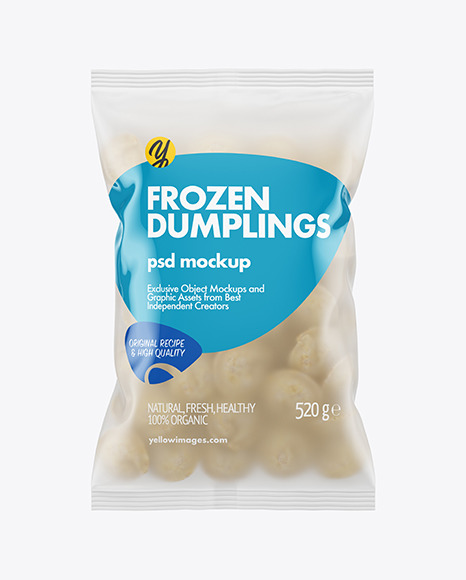 Frosted Plastic Bag With Dumplings Mockup