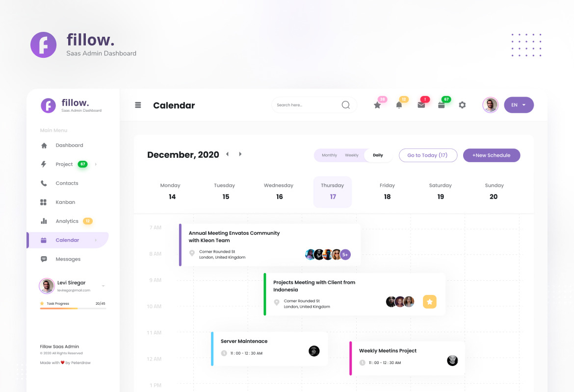 Fillow - Saas Admin Dashboard UI Template