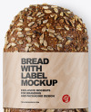 Loaf Of Rye Bread with Seeds & Label Mockup