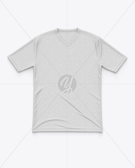 Men's Heather Flat V-Neck T-Shirt Mockup - Front View
