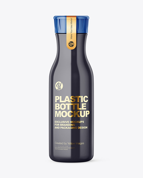 Glossy Plastic Bottle With Plastic Cap And Sticker Mockup - Front View