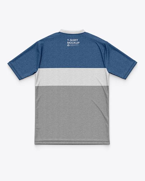Men's Heather Flat V-Neck T-Shirt Mockup - Back View