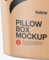 Kraft Paper Pillow Box Mockup - Half Side View