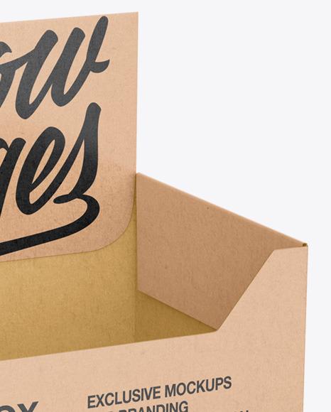Empty Kraft Display Box Mockup - Half Side View