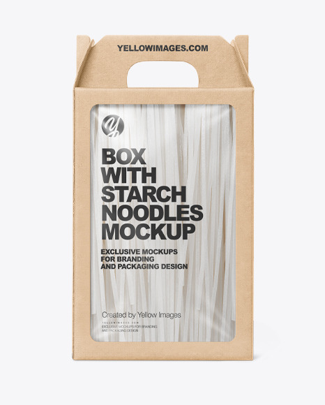Kraft Box With Starch Noodles Mockup