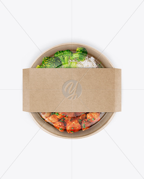 Paper Bowl with Food Mockup