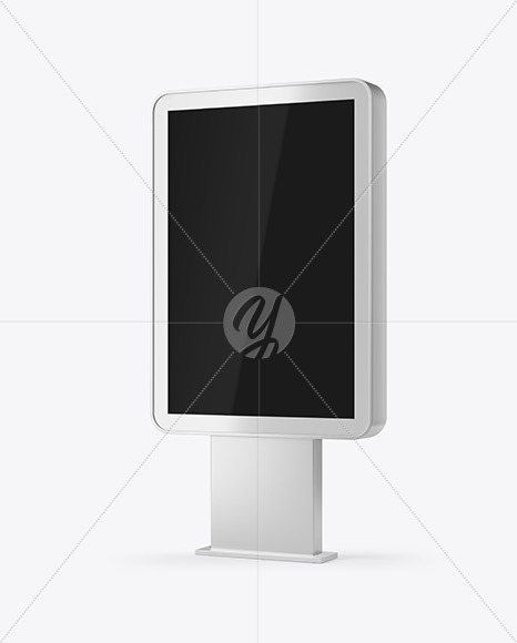 Metallic Citylight Billboard Mockup Half Side View