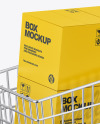 Shopping Cart W/ 4 Paper Boxes Mockup