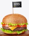 Burger on Wooden Board Mockup