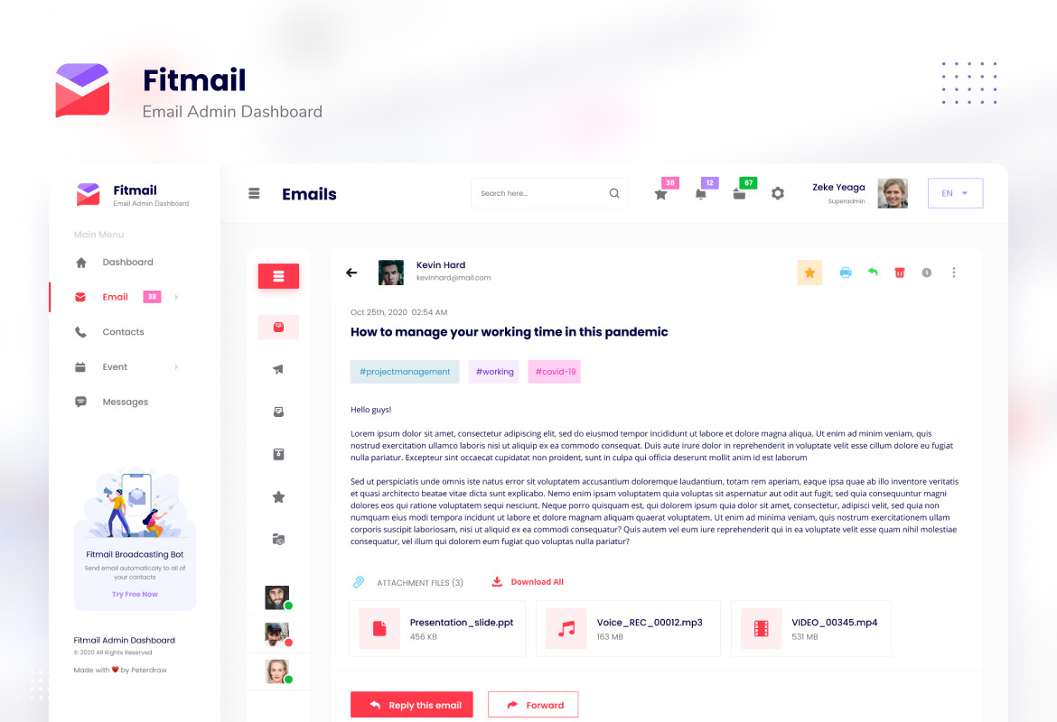 Fitmail - Email Admin Dashboard UI Template