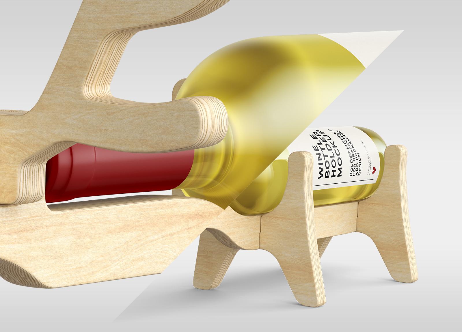 Deer Wine Bottle Holder Mockups - Two Views