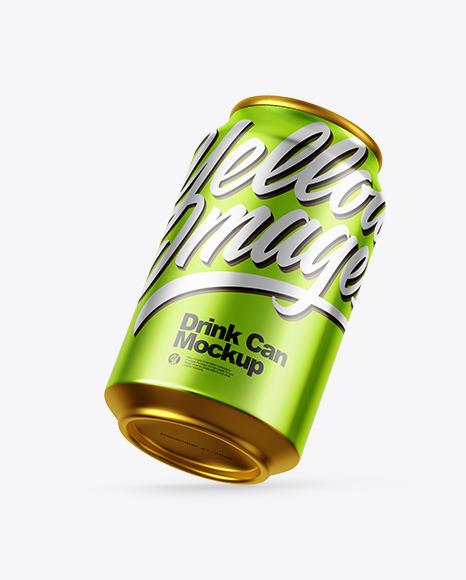 Glossy Metallic Drink Can Mockup
