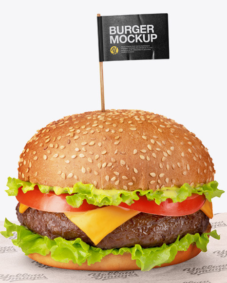 Burger on Paper Sheet Mockup