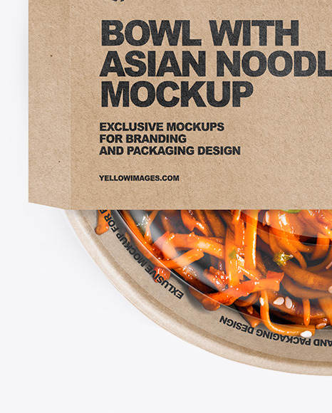 Paper Bowl With Asian Noodles Mockup