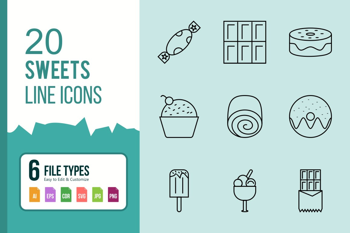 20 Sweets Line Black Icons.