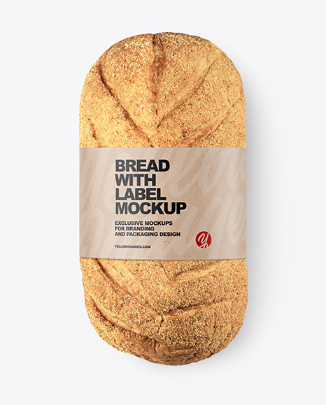 Loaf Of Wheat Bread with Label Mockup