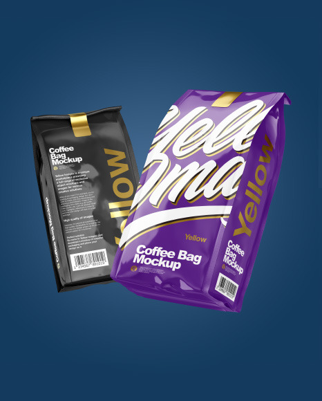 Two Glossy Coffee Bag Packaging Mockup