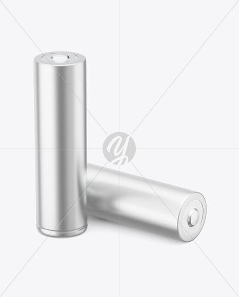 Two AA Matte Mettallic Batteries Mockup