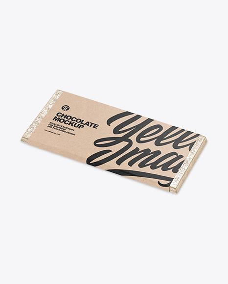 Chocolate Bar in Kraft Packaging Mockup