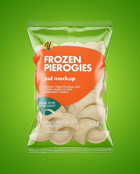 Plastic Bag With Frozen Pierogies Mockup