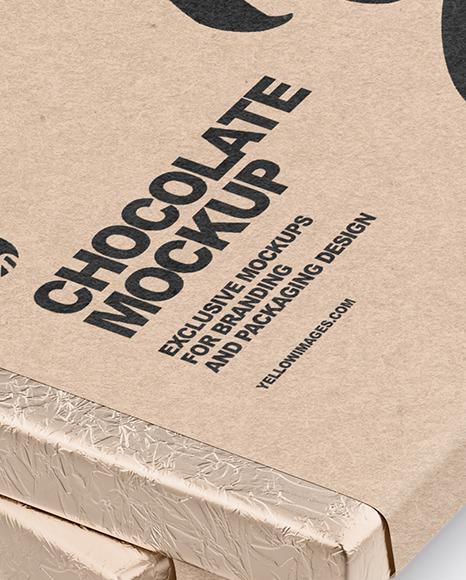 Two Chocolate Bars in Kraft Packaging Mockup