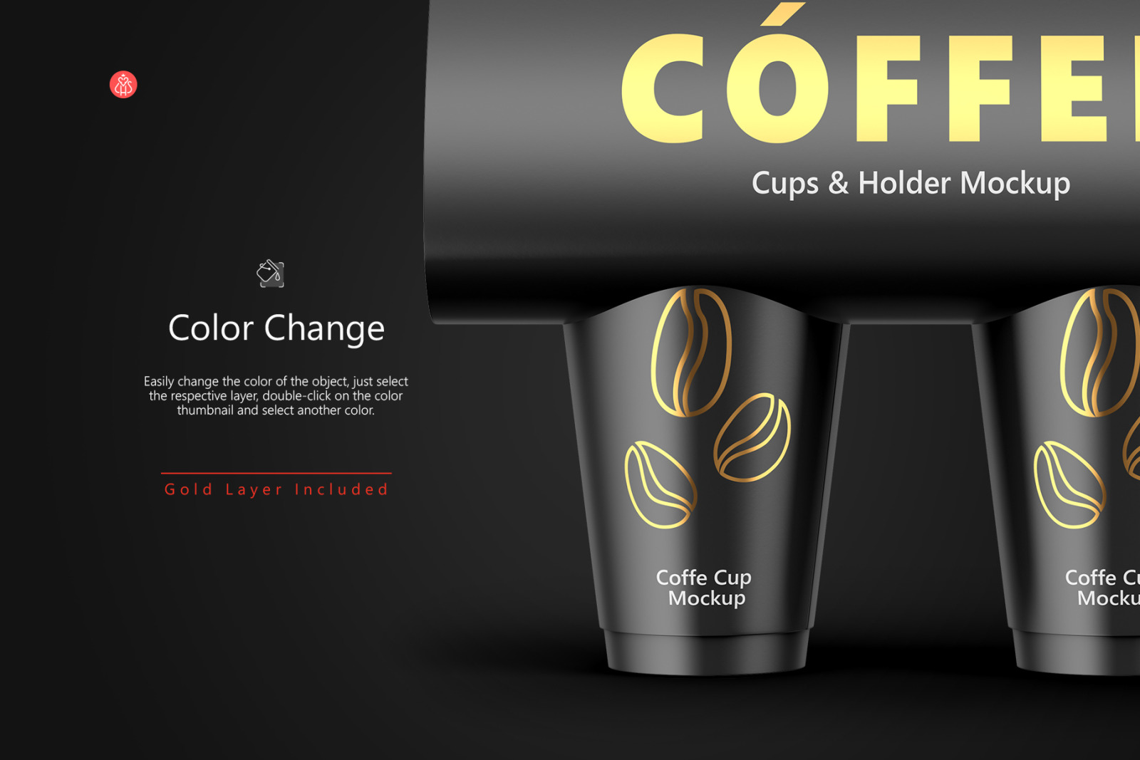 Coffee Cups and Holder Mockups - Front View