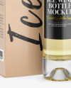 Clear Glass White Wine Bottle With Box Mockup