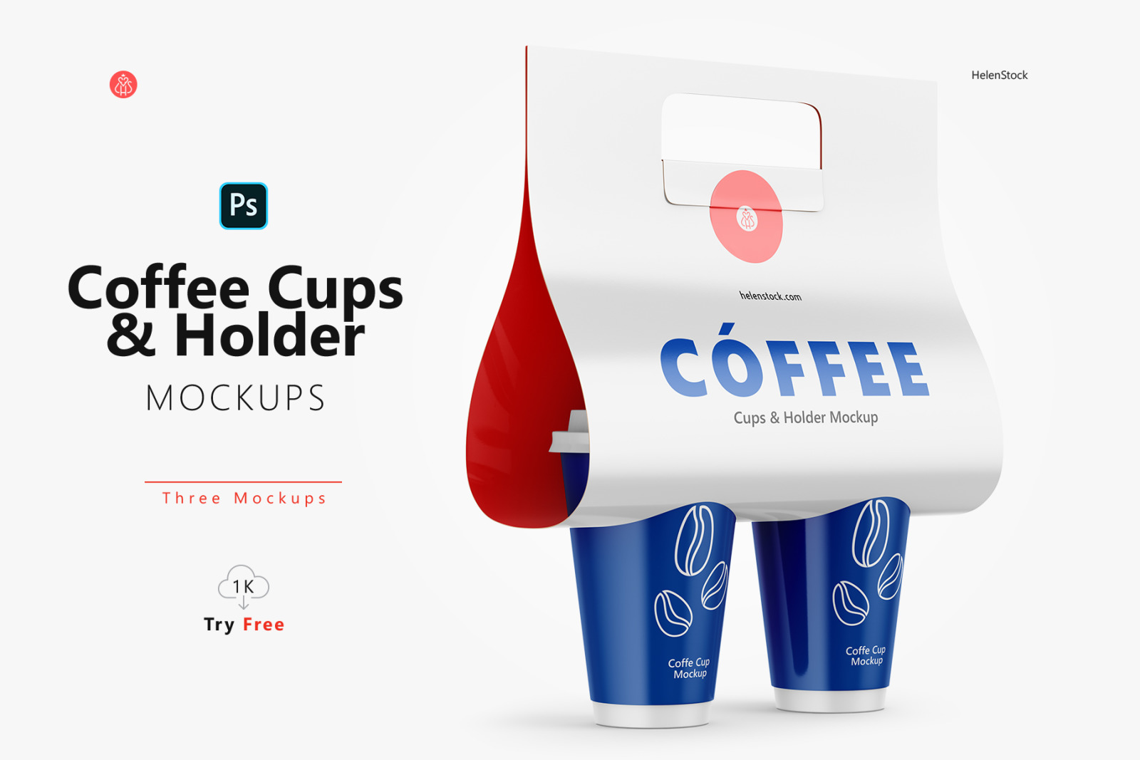 Coffee Cups and Holder Mockups - Halfside View