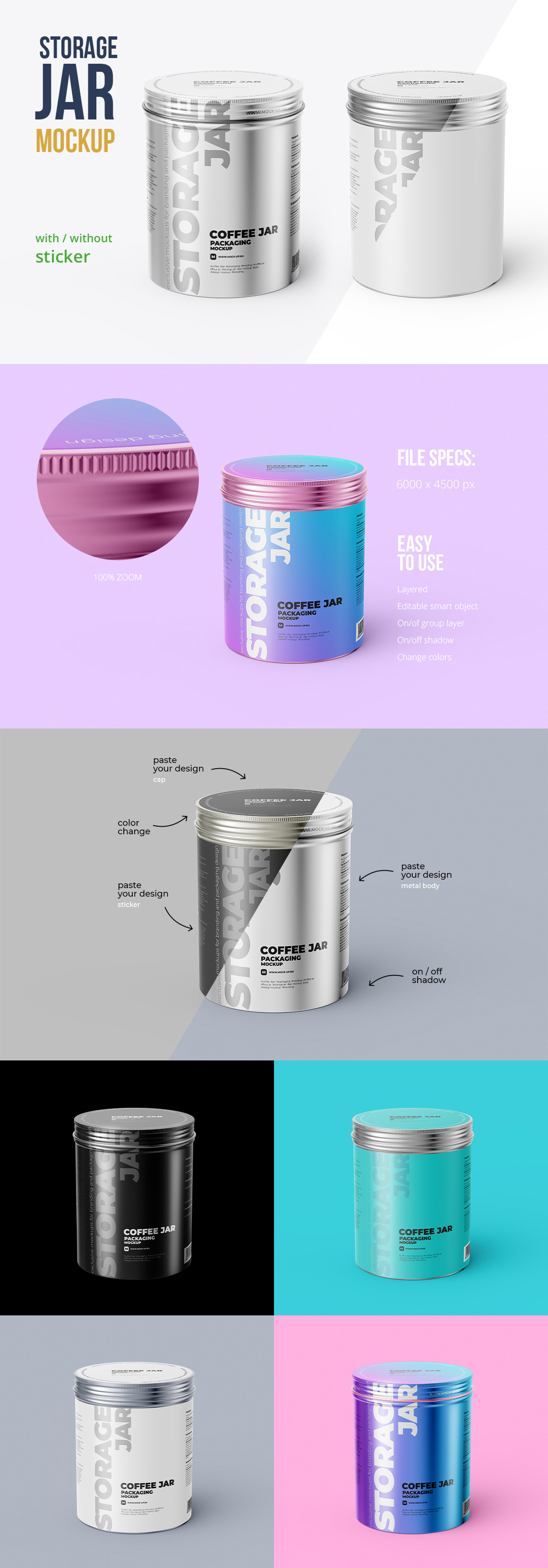 Metallic Storage Jar. Angle view 2 PSD