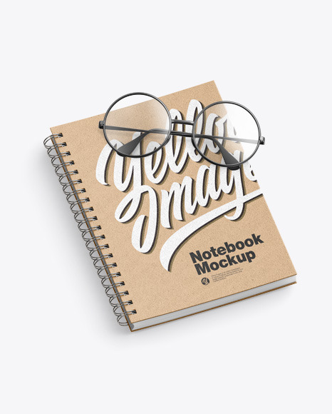 Kraft Notebook w/Glasses Mockup